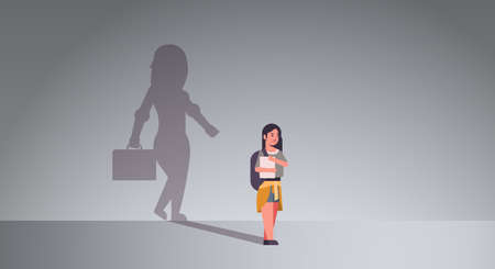 girl student dreaming about being businesswoman shadow of business woman with briefcase imagination aspiration concept female cartoon character standing pose full length flat horizontal vector illustration Vectores