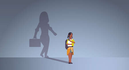 african american girl student dreaming about being businesswoman shadow of business woman with briefcase imagination aspiration concept female cartoon character full length flat horizontal vector illustration