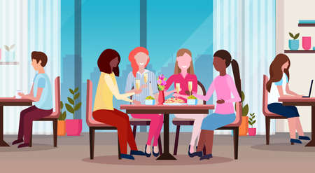 women drinking champagne enjoying food international happy 8 march day holiday concept mix race girls sitting at cafe table modern restaurant interior horizontal flat vector illustration