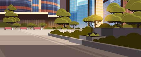 beautifil city street sunset skyline high skyscrapers modern cityscape background flat horizontal banner vector illustration