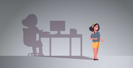 girl dreaming about being freelancer shadow of woman working on computer at workplace imagination aspiration concept female cartoon character full length flat horizontal vector illustration