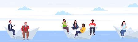 people floating on paper boat mix race men women using gadgets traveling together digital addiction web surfing concept horizontal flat full length vector illustration Banque d'images - 132925557