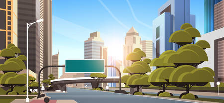asphalt road with information banner traffic signs city skyline modern skyscrapers cityscape sunshine background flat horizontal vector illustration