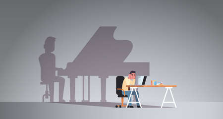 overworked man sitting at workplace using laptop shadow of man playing piano imagination aspiration concept male cartoon character flat horizontal full length vector illustration