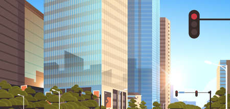 beautifil city street with traffic light skyline high skyscrapers modern cityscape sunrise background flat horizontal closeup vector illustration Banque d'images - 132926987