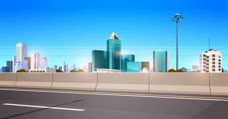 highway asphalt road with chipper city skyline modern skyscrapers cityscape background flat horizontal banner vector illustration