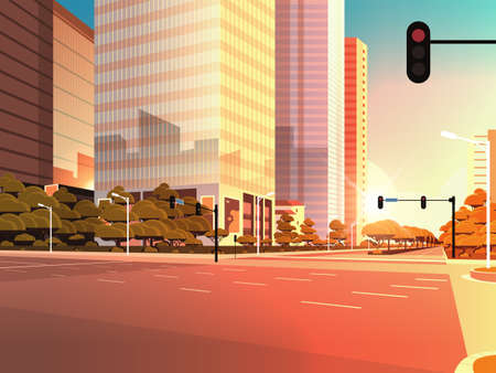 beautifil city street asphalt road with traffic light high skyscraper modern cityscape sunset background flat horizontal closeup vector illustration Banque d'images - 132927021