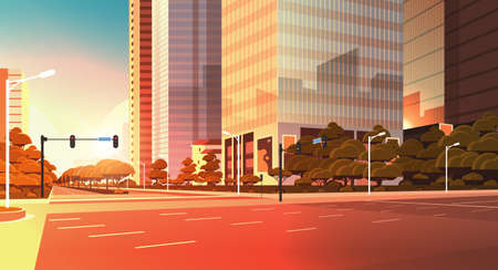 asphalt road with marking arrows traffic signs city skyline modern skyscraper cityscape sunset background flat horizontal closeup vector illustration
