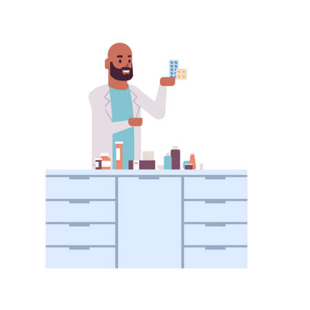 male scientific researcher holding drugs packages african american man in uniform analyzing pills scientist making experiment in laboratory research science concept full length flat vector illustration