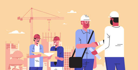 builders team shaking hands during meeting mix race engineers workers in helmet discussing new project on blueprint handshake agreement concept construction site background portrait horizontal vector illustration