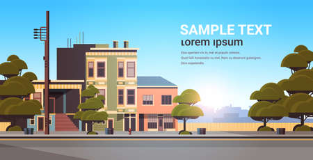 city building houses exterior modern town street in summer season sunset cityscape background horizontal flat copy space vector illustration Illustration