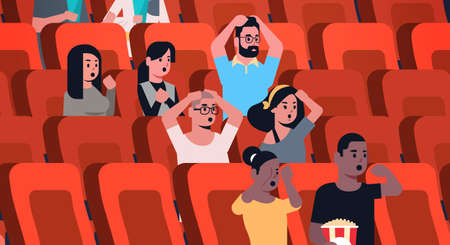 people group watching horror movie and screaming sitting in cinema with popcorn and cola mix race men women looking scared flat portrait horizontal vector illustration