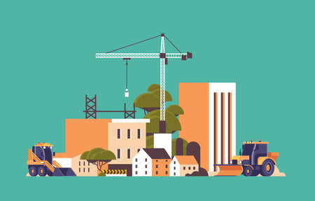 modern construction site with cranes tractor and bulldozer unfinished building exterior flat horizontal vector illustration