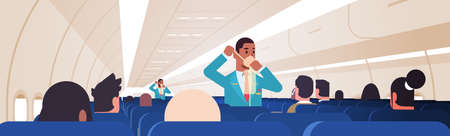 steward explaining for passengers how to use oxygen mask in emergency situation african american male flight attendants safety demonstration concept modern airplane board interior horizontal vector illustration