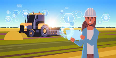 woman farmer with tablet controling tractor plowing field smart farming modern technology organization of harvesting application concept landscape background flat horizontal portrait vector illustration