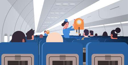 azafata asistente de vuelo explicando a los pasajeros cómo usar el chaleco salvavidas en situaciones de emergencia concepto de demostración de seguridad ilustración de vector plano horizontal interior de tablero de avión moderno