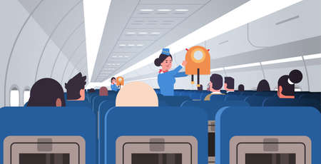 stewardess flight attendant explaining for passengers how to use jacket life vest in emergency situation safety demonstration concept modern airplane board interior horizontal flat vector illustration Çizim