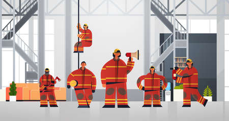 firemen team standing together firefighters wearing uniform and helmet firefighting emergency service concept modern fire department interior flat horizontal full length vector illustration Stock Illustratie