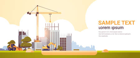 modern construction site with cranes tractor and bulldozer unfinished building exterior sunset background flat horizontal copy space vector illustration