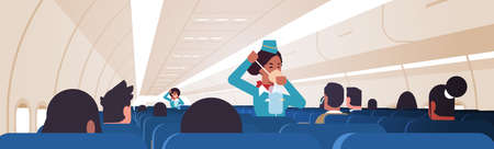 stewardess explaining for passengers how to use oxygen mask in emergency situation african american flight attendants safety demonstration concept modern airplane board interior horizontal vector illustration