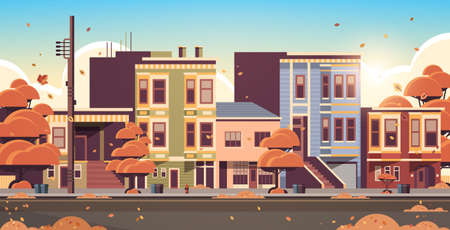 city building houses exterior modern town street in autumn sunset cityscape background horizontal flat vector illustration