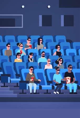 people group wearing 3d glasses watching movie sitting in cinema with popcorn and cola mix race men women having fun laughing at new comedy flat full length vertical vector illustration
