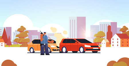 police officer using walkie-talkie policeman standing near damaged autos traffic safety regulations service car accident concept cityscape background flat horizontal full length vector illustration