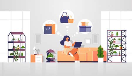 woman sitting at couch with laptop using computer application online shopping sale concept girl choosing purchases modern living room interior flat full length vector illustration