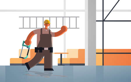 male builder carrying ladder and hacksaw busy workman industrial worker in uniform building concept unfinished construction site interior flat full length horizontal vector illustration