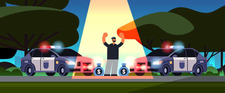 arrested criminal character with money bags robber caught by police theft security authority justice law service concept urban park landscape background full length horizontal vector illustration