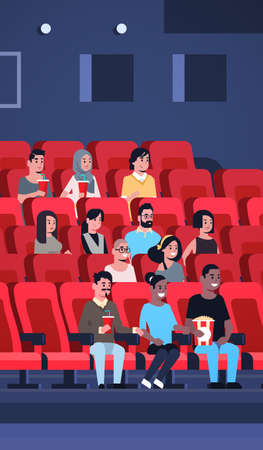 people group watching movie sitting in cinema with popcorn and cola mix race men women having fun laughing at new comedy flat full length vertical vector illustration