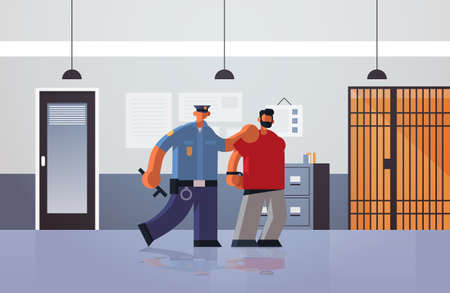 officer arrested criminal policeman in uniform holding caught suspect thief security authority justice law service concept modern police department interior flat full length horizontal vector illustration