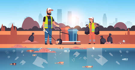 janitors gathering garbage and packing in black bags cleaners couple working together on beach area cleaning service environmental improvement concept river bank cityscape background horizontal vector illustration Ilustração