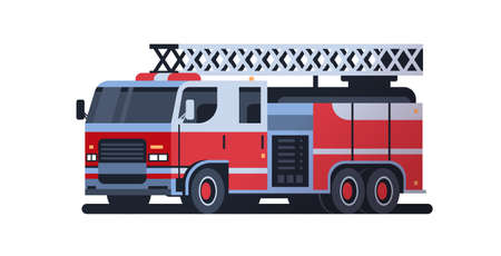 fire rescue red truck firefighting machine emergency service car extinguishing fire concept flat white background full length horizontal vector illustration Vettoriali