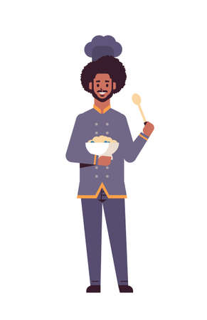 male professional chef cook holding plate with porridge and spoon african american man restaurant worker in uniform tasting dish cooking food concept flat full length vertical vector illustration