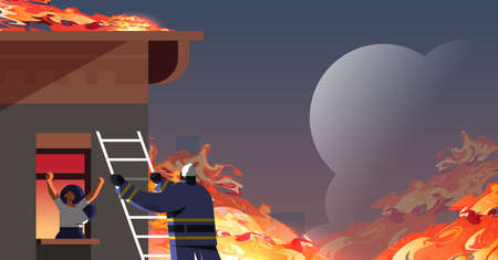 brave fireman climbing ladder firefighter rescuing woman in burning house firefighting emergency service extinguishing fire concept orange flame background flat portrait horizontal vector illustration