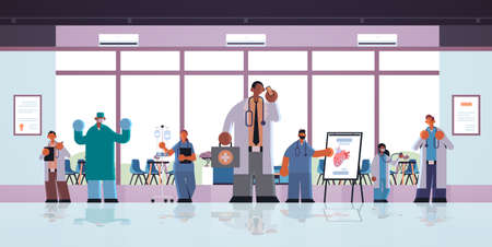 different clinic hospital workers mix race doctors in uniform working together medicine healthcare concept modern hospital clinic office interior full length flat horizontal vector illustration Vector Illustration