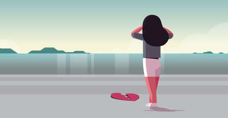 Mujer triste desconsolada en depresión sosteniendo la cabeza crisis de vida romper concepto de divorcio vista trasera niña de pie en la playa cerca del corazón roto paisaje marino fondo plano horizontal de longitud completa ilustración vectorial