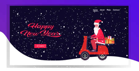 santa claus with gift present boxes riding vintage scooter merry christmas happy new year holiday celebration concept greeting card full length horizontal vector illustration Stock Illustratie