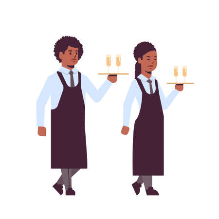 professional waiters holding serving trays with glasses of champagne african american man woman restaurant workers in uniform carrying alcohol drinks flat full length white background vector illustration