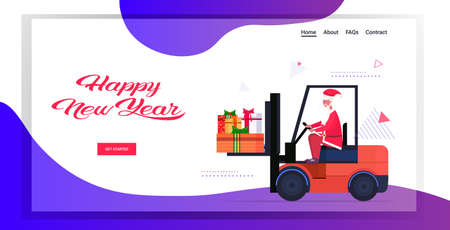 santa claus driving forklift truck loading colorful gift present boxes merry christmas happy new year holiday celebration concept horizontal copy space vector illustration Stock Illustratie