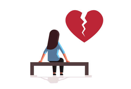 unhappy sad woman in depression having relationship problem life crisis break up divorce concept girl with broken heart sitting wooden bench flat full length horizontal vector illustration