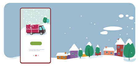 delivery truck with gift box container merry christmas happy new year holiday celebration concept smartphone screen online mobile app cute houses snowy town on winter background horizontal vector illustration