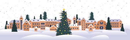 buon natale felice anno nuovo vacanza celebrazione biglietto di auguri case carine città innevata su sfondo invernale illustrazione vettoriale orizzontale Vettoriali