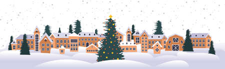 merry christmas happy new year holiday celebration greeting card cute houses snowy town on winter background horizontal vector illustration Vektorové ilustrace
