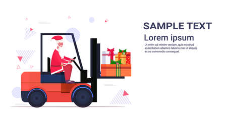 santa claus driving forklift truck loading colorful gift present boxes merry christmas happy new year holiday celebration concept horizontal copy space vector illustration Stok Fotoğraf - 133451720