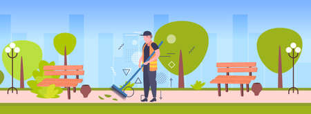 man cleaner sweeping street from leaves with broom male janitor in uniform cleaning service concept summer park cityscape background full length sketch horizontal vector illustration