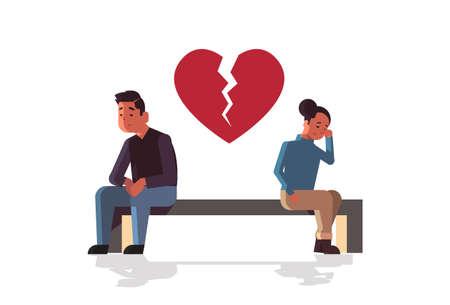 unhappy sad couple in depression having relationship problem life crisis break up divorce concept man woman with broken heart sitting wooden bench flat full length horizontal vector illustration Ilustração