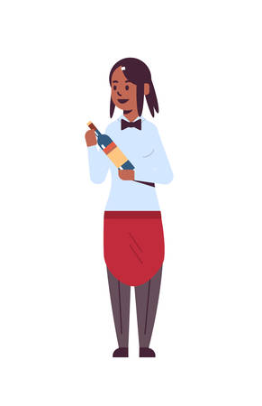 professional waitress holding bottle of wine african american woman restaurant worker in red apron offering alcohol drink flat full length white background vertical vector illustration  イラスト・ベクター素材