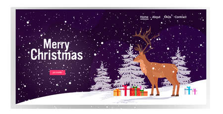 cartoon reindeer standing near gift present boxes in winter forest cute deer animal greeting card merry christmas happy new year holidays congratulation lettering horizontal copy space vector illustration